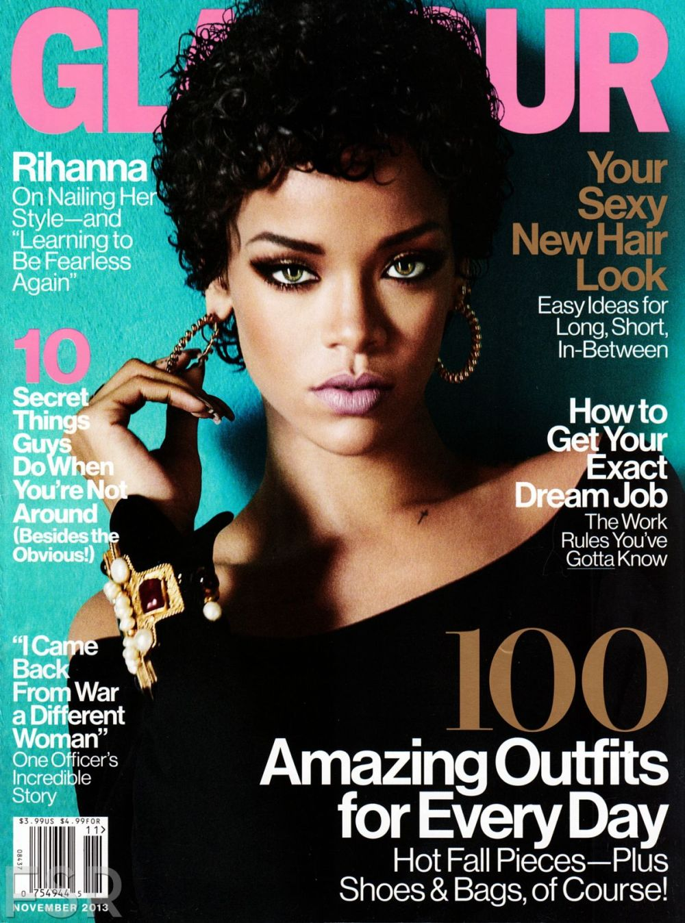 Rihanna featured on Glamour's November cover.