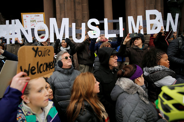 "Demonstrators spell out ""# No Muslim Ban"" during the ""Boston Protest Against Muslim Ban and Anti-Immigration Orders"" to protest U.S. President Donald Trump's executive order travel ban in Boston"